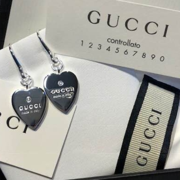 c75c8d2adea NWT Gucci Sterling Silver Trademark Heart Earrings